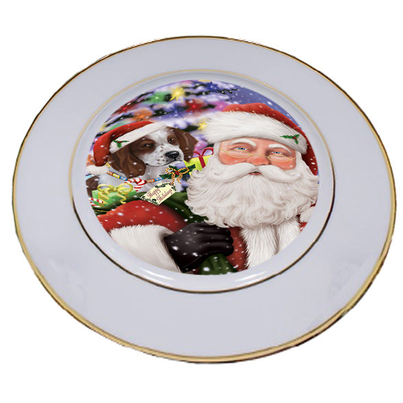 Santa Carrying Red And White Irish Setter Dog and Christmas Presents Porcelain Plate PLT53871