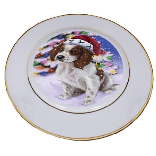 Winterland Wonderland Red And White Irish Setter Dog In Christmas Holiday Scenic Background Porcelain Plate PLT54068