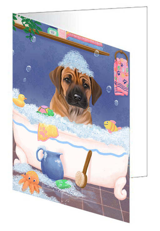 Rub A Dub Dog In A Tub Rhodesian Ridgeback Dog Greeting Card GCD79595