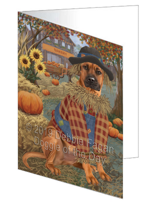Fall Pumpkin Scarecrow Rhodesian Ridgeback Dogs Greeting Card GCD78611