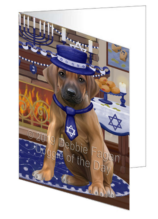 Happy Hanukkah Rhodesian Ridgeback Dog Greeting Card GCD78701