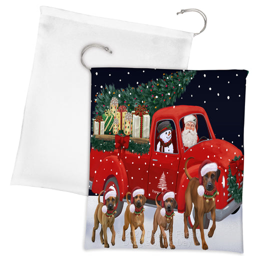 Christmas Express Delivery Red Truck Running Rhodesian Ridgeback Dogs Drawstring Laundry or Gift Bag LGB48924