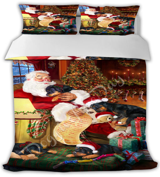 Santa Sleeping with Rottweiler Dogs Bed Comforter CMFTR49869