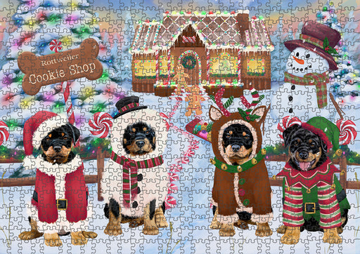Holiday Gingerbread Cookie Shop Rottweilers Dog Puzzle with Photo Tin PUZL94260