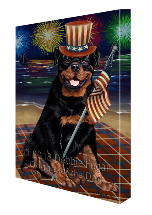 4th of July Independence Day Firework Rottweiler Dog Canvas Wall Art CVS56469