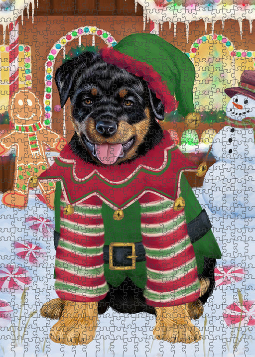 Christmas Gingerbread House Candyfest Rottweiler Dog Puzzle with Photo Tin PUZL94192
