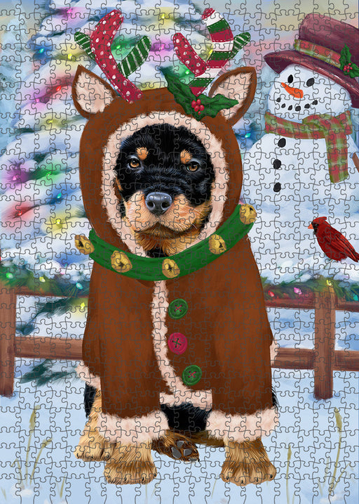 Christmas Gingerbread House Candyfest Rottweiler Dog Puzzle with Photo Tin PUZL94196