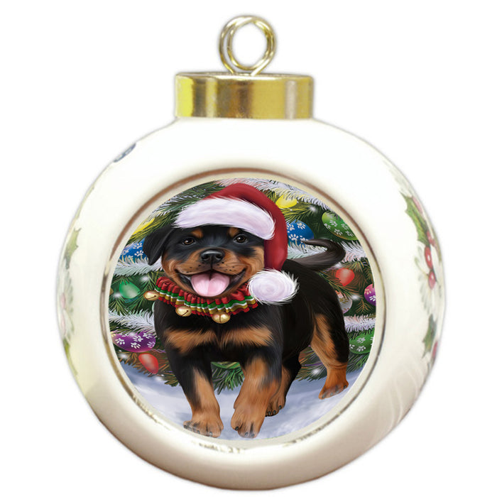 Trotting in the Snow Rottweiler Dog Round Ball Christmas Ornament RBPOR54718