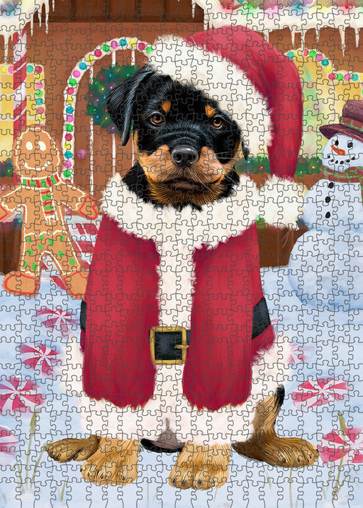 Christmas Gingerbread House Candyfest Rottweiler Dog Puzzle with Photo Tin PUZL94200