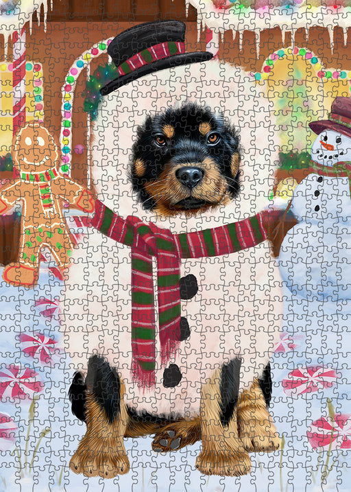 Christmas Gingerbread House Candyfest Rottweiler Dog Puzzle with Photo Tin PUZL94204