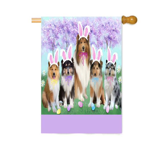 Personalized Easter Holiday Rough Collie Dogs Custom House Flag FLG-DOTD-A59032