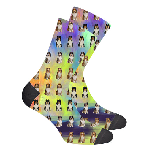 Paradise Wave Rough Collie Dogs Women's Socks