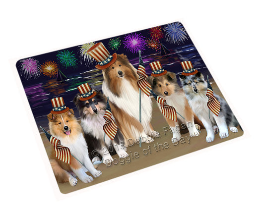 4th of July Independence Day Firework Rough Collies Dog Large Refrigerator / Dishwasher Magnet RMAG104088