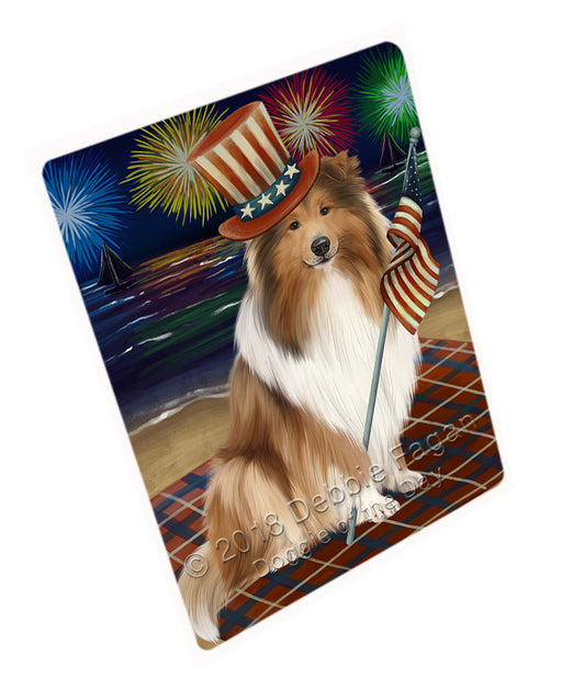4th of July Independence Day Firework Rough Collie Dog Large Refrigerator / Dishwasher Magnet RMAG104094