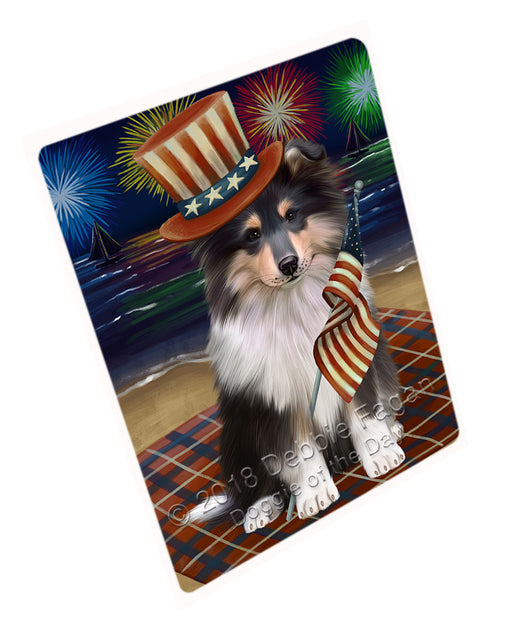4th of July Independence Day Firework Rough Collie Dog Large Refrigerator / Dishwasher Magnet RMAG104100