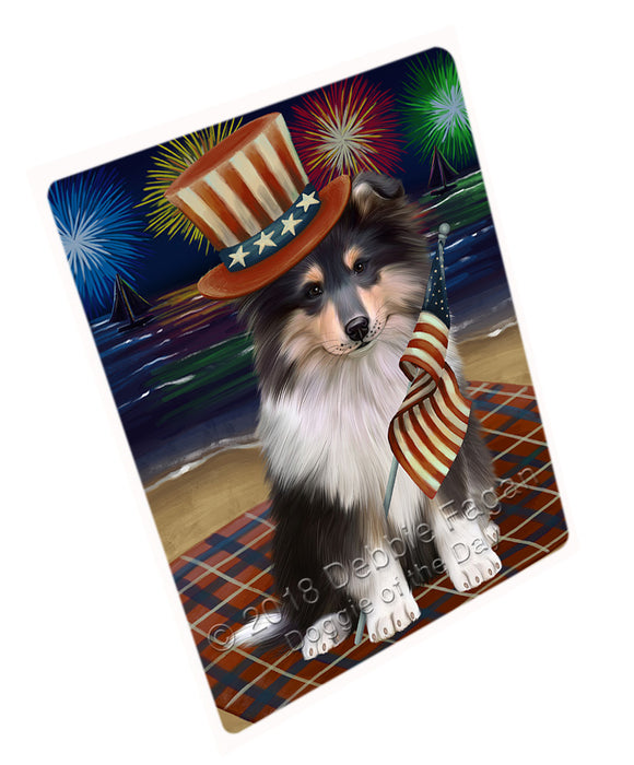 "4th of July Independence Day Firework Rough Collie Dog Magnet MAG76053 (Mini 3.5"" x 2"")"