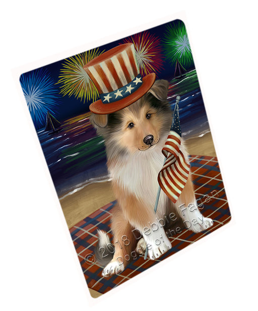 4th of July Independence Day Firework Rough Collie Dog Large Refrigerator / Dishwasher Magnet RMAG104106