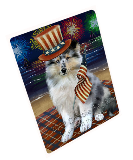 4th of July Independence Day Firework Rough Collie Dog Large Refrigerator / Dishwasher Magnet RMAG104112
