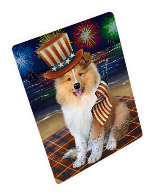 4th of July Independence Day Firework Rough Collie Dog Large Refrigerator / Dishwasher Magnet RMAG104118