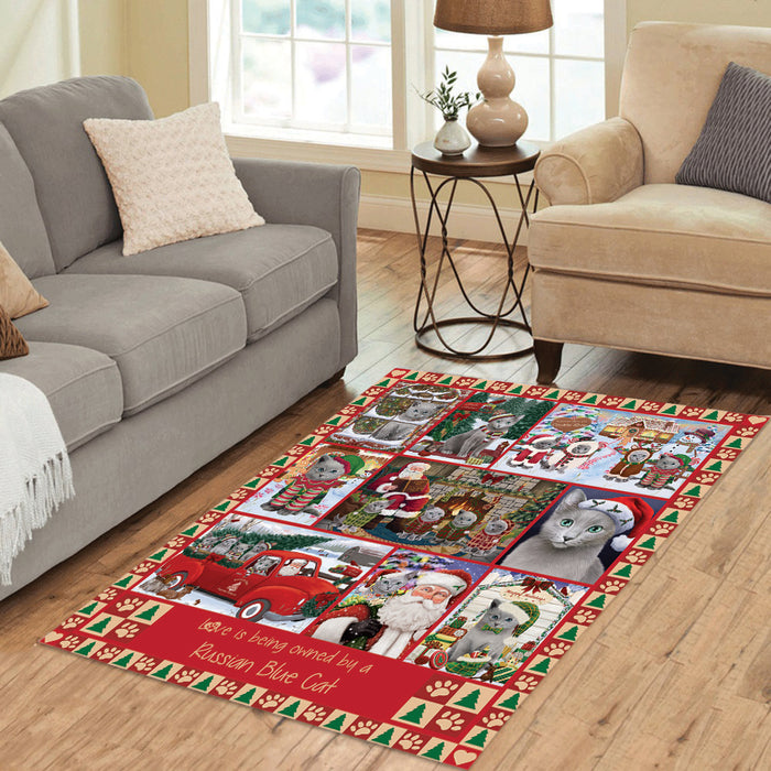 Love is Being Owned Christmas Russian Blue Cats Area Rug