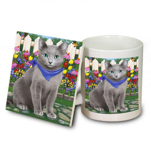 Spring Floral Russian Blue Cat Mug and Coaster Set MUC52211