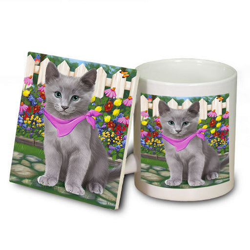 Spring Floral Russian Blue Cat Mug and Coaster Set MUC52212