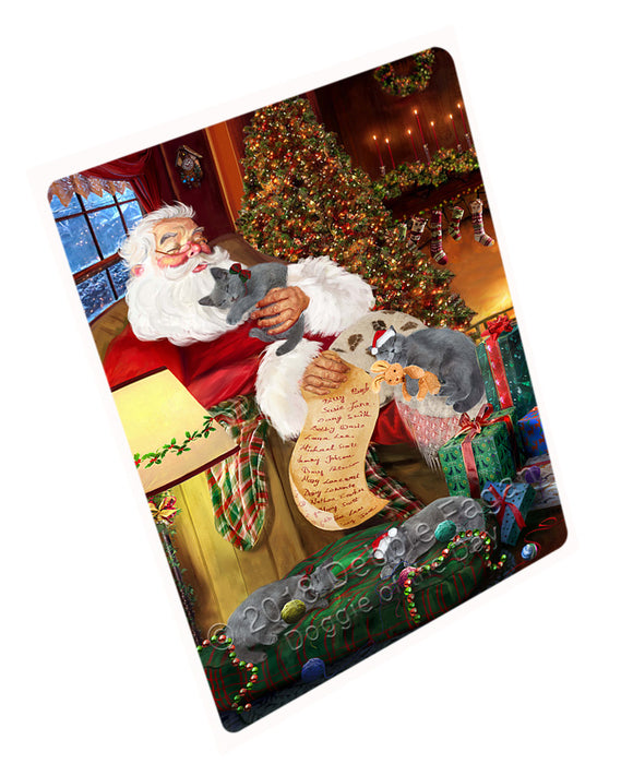 Santa Sleeping with Russian Blue Cats Christmas Large Refrigerator / Dishwasher Magnet RMAG77808