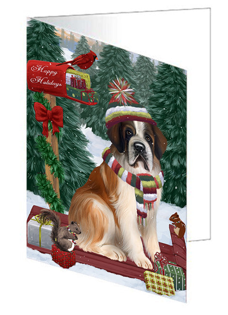 Merry Christmas Woodland Sled Saint Bernard Dog Note Card NCD69563