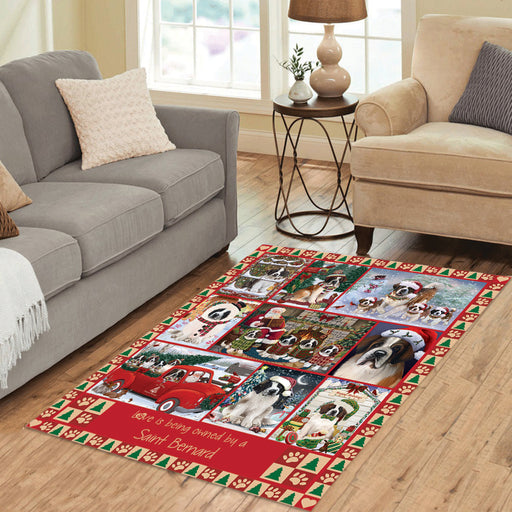 Love is Being Owned Christmas Saint Bernard Dogs Area Rug