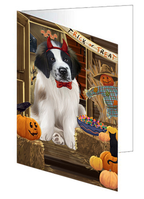 Enter at Own Risk Trick or Treat Halloween Saint Bernard Dog Note Card NCD63800