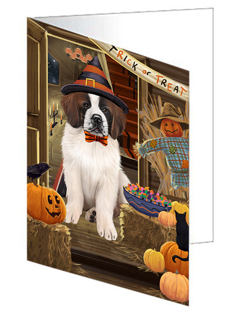 Enter at Own Risk Trick or Treat Halloween Saint Bernard Dog Note Card NCD63803