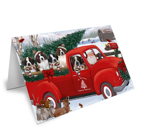 Christmas Santa Express Delivery Saint Bernards Dog Family Note Card NCD69017