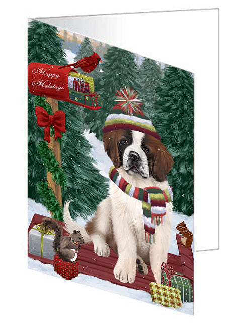 Merry Christmas Woodland Sled Saint Bernard Dog Note Card NCD69566
