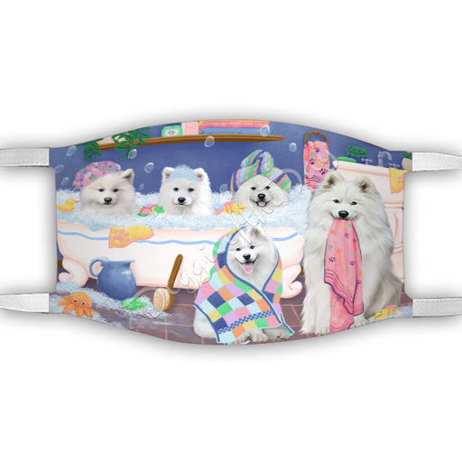 Rub A Dub Dogs In A Tub  Samoyed Dogs Face Mask FM49535