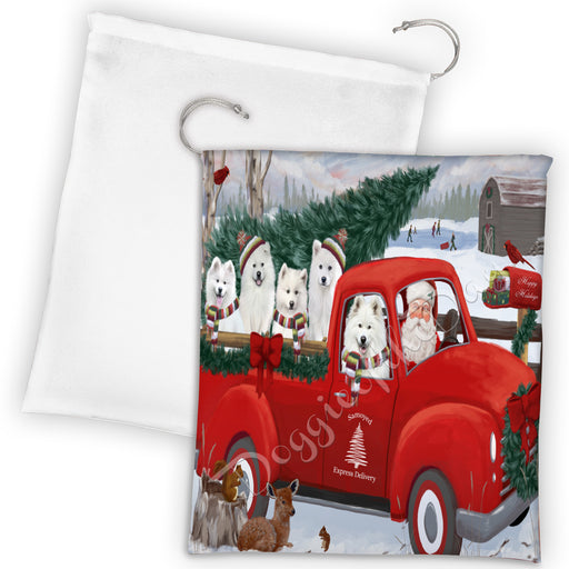 Christmas Santa Express Delivery Red Truck Samoyed Dogs Drawstring Laundry or Gift Bag LGB48335