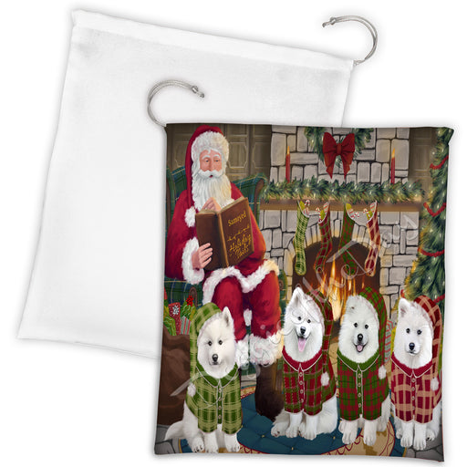 Christmas Cozy Holiday Fire Tails Samoyed Dogs Drawstring Laundry or Gift Bag LGB48529