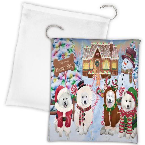 Holiday Gingerbread Cookie Samoyed Dogs Shop Drawstring Laundry or Gift Bag LGB48628