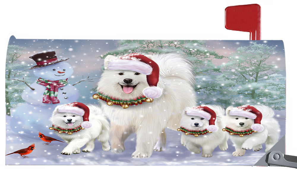 Magnetic Mailbox Cover Christmas Running Family Samoyeds Dogs MBC48275