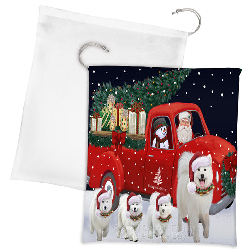 Christmas Express Delivery Red Truck Running Samoyed Dogs Drawstring Laundry or Gift Bag LGB48926