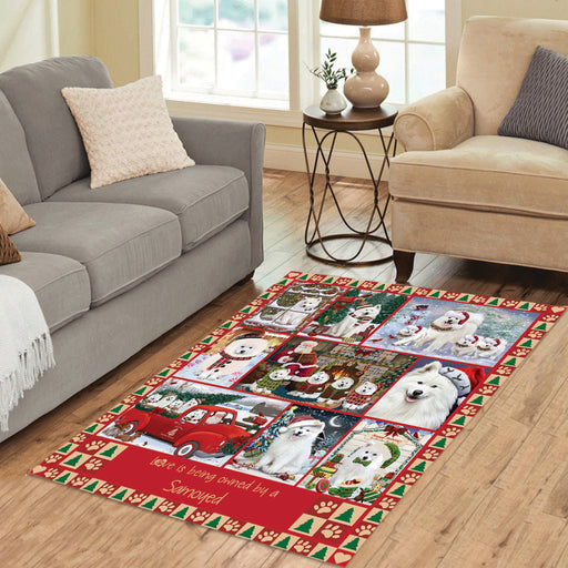 Love is Being Owned Christmas Samoyed Dogs Area Rug