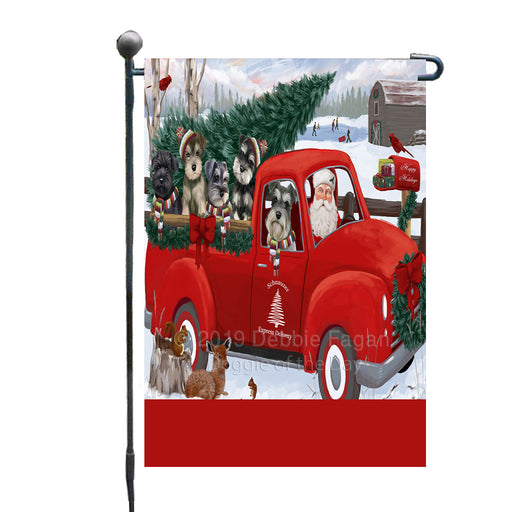 Personalized Christmas Santa Red Truck Express Delivery Schnauzer Dogs Custom Garden Flags GFLG-DOTD-A57679