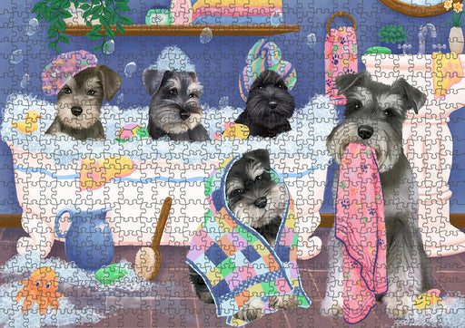 Rub A Dub Dogs In A Tub Schnauzers Dog Puzzle with Photo Tin PUZL95476