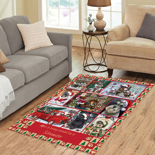Love is Being Owned Christmas Schnauzer Dogs Area Rug