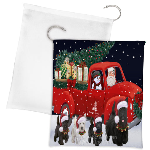 Christmas Express Delivery Red Truck Running Scottish Terrier Dogs Drawstring Laundry or Gift Bag LGB48927