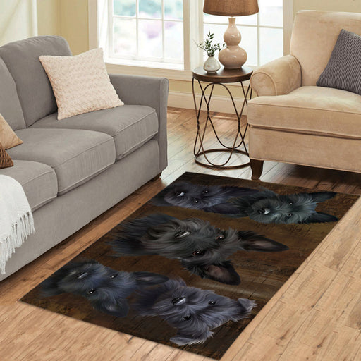 Rustic Scottish Terrier Dogs Area Rug