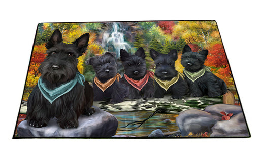 Scenic Waterfall Scottish Terriers Dog Floormat FLMS49935