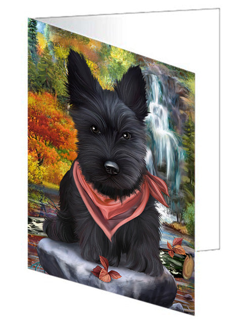 Scenic Waterfall Scottish Terrier Dog Note Card NCD52535