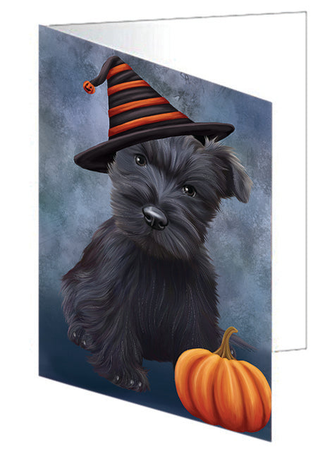 Happy Halloween Scottish Terrier Dog Wearing Witch Hat with Pumpkin Note Card NCD68804