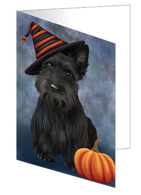 Happy Halloween Scottish Terrier Dog Wearing Witch Hat with Pumpkin Note Card NCD68807
