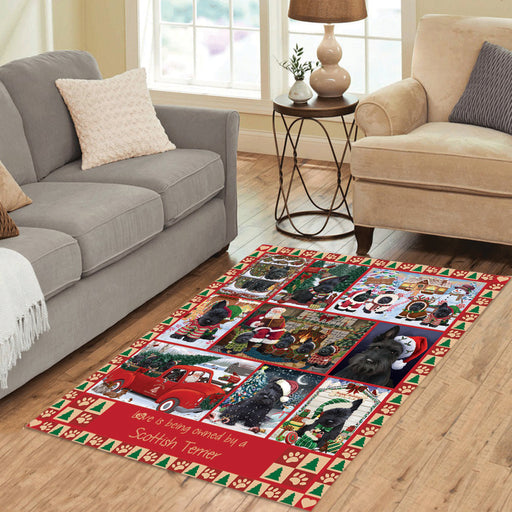 Love is Being Owned Christmas Scottish Terrier Dogs Area Rug